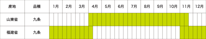 中国青葱農場 年間生産スケジュール